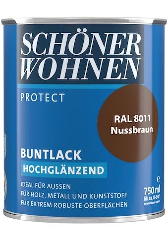 SCHÖNER WOHNEN-Kollektion Lack »Protect Buntlack«, hochglänzend, 750 ml, nussbraun RAL 8011 kaufen