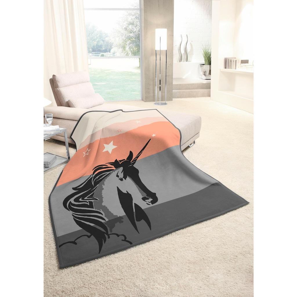 BIEDERLACK Wohndecke »Last Unicorn«, mit Einhorn Motiv