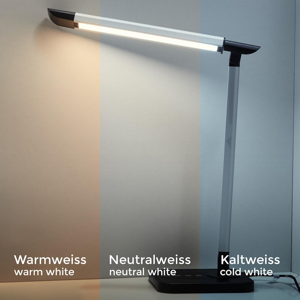 B.K.Licht LED Tischleuchte, LED-Board, Kaltweiß-Neutralweiß-Warmweiß, LED Schreibtisch-Lampe dimmbar Büro Leselampe Touch Kinderleuchte USB inkl. 7W 500lm