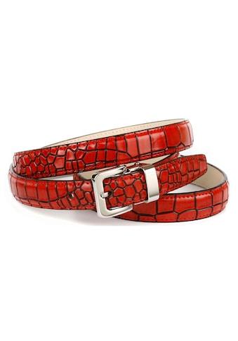 Anthoni Crown Ledergürtel, mit Krokomuster, schlichte Eleganz kaufen
