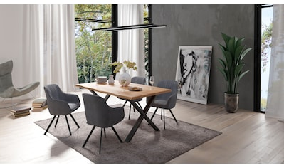 Homexperts Essgruppe »Lesley + Carlo«, (Set, 5-tlg oder 7tlg.), Baumkantentisch, Breite 160 oder 200cm und 4 oder 6 Polsterstühlen mit Drehfunktion, Bezug in Cordstoff kaufen