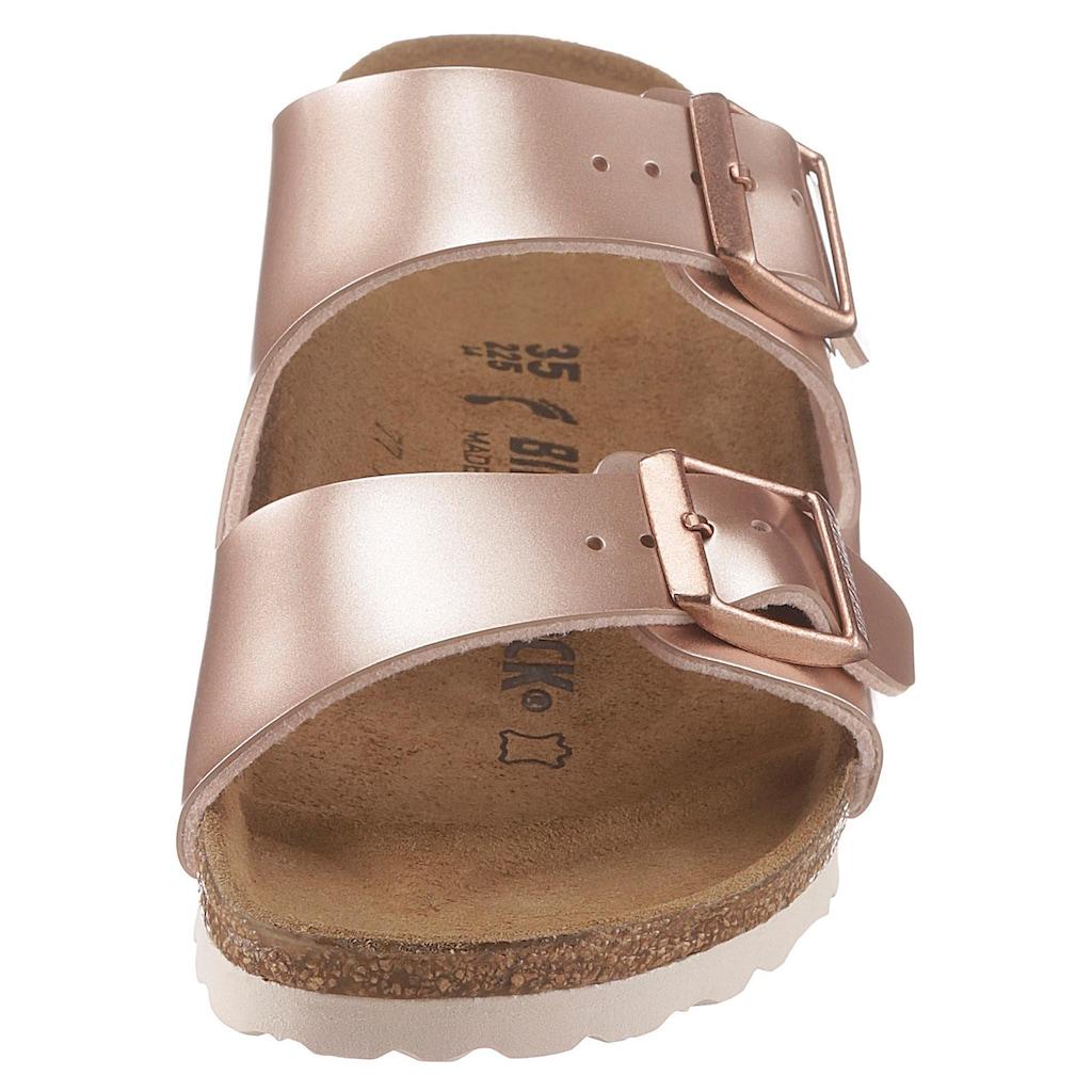 Birkenstock Pantolette »ARIZONA BF ELECTRIC METALLIC«, in toller Metallic-Optik und schmaler Schuhweite