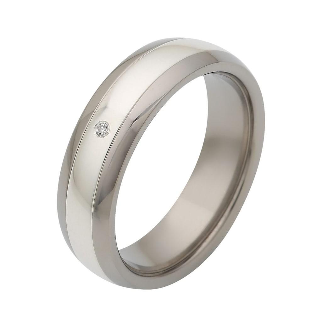 Firetti Trauring »glanz, Diamantschnitt, bicolor, 6,0 mm breit«, Made in Germany, wahlweise mit oder ohne Brillant