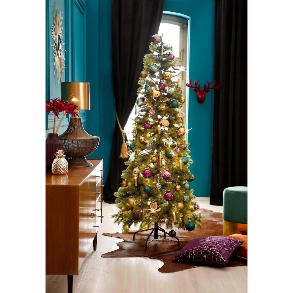 Thüringer Glasdesign Weihnachtsbaumkugel »Christmas Chic«, (Set, 3 St.), Reflexkugel, dekoriert
