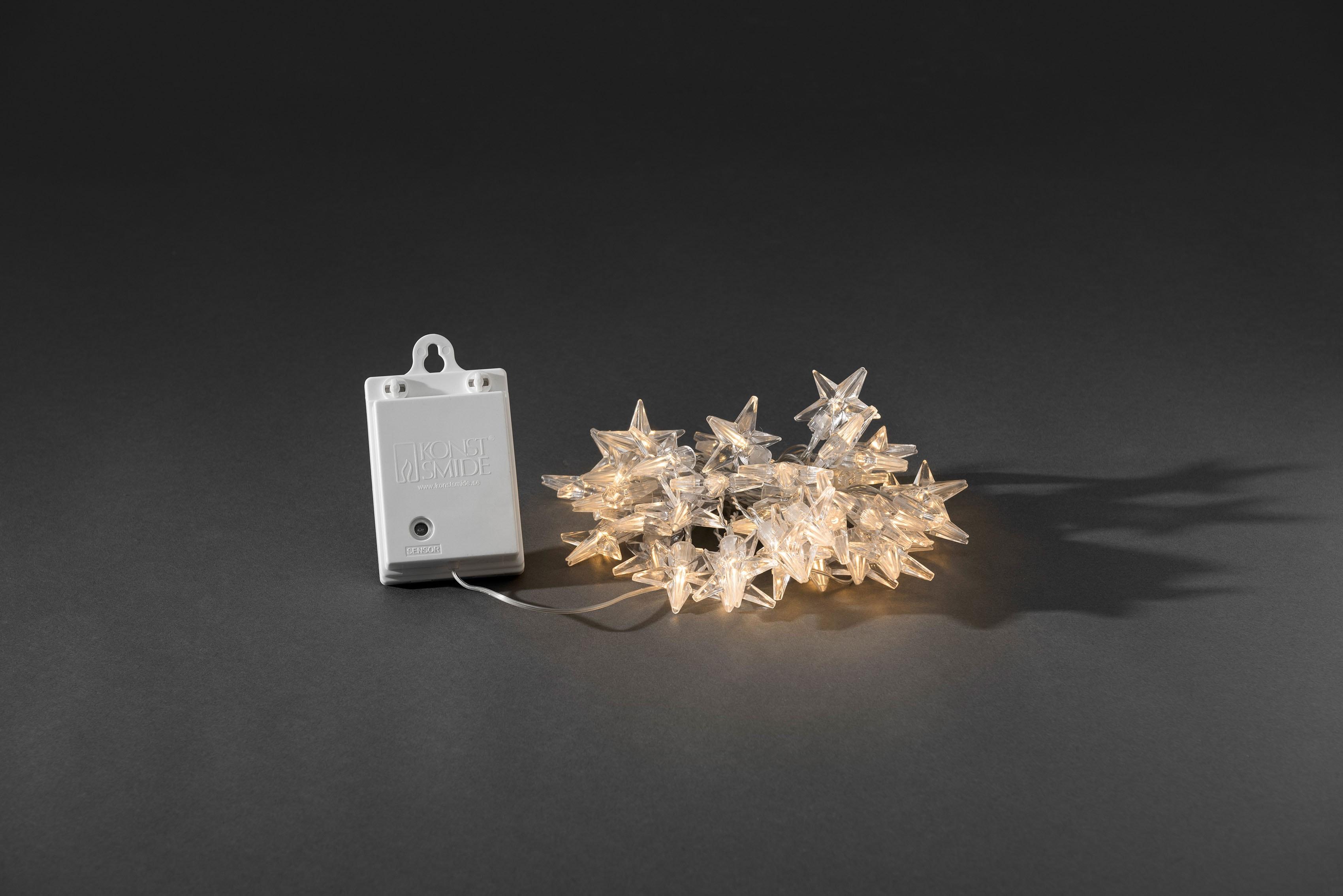 KONSTSMIDE LED-Lichterkette, 80 St.-flammig, LED Dekolichterkette, Acryl Sterne, 80 warm weiße Dioden