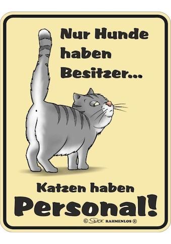 Rahmenlos Blechschild mit lustigem Katzen-Motiv kaufen