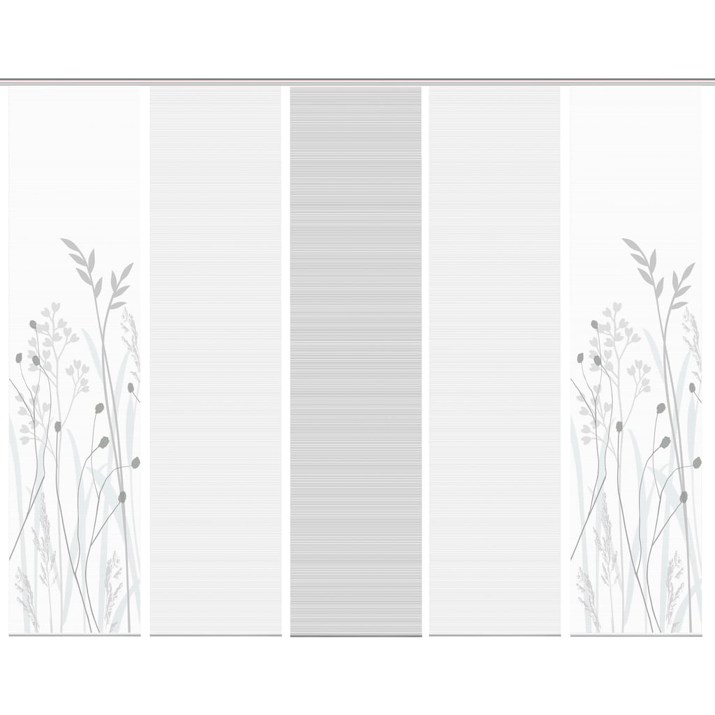 Vision Schiebegardine »GRASIL 5er SET«, Bambus-Optik, Digital bedruckt