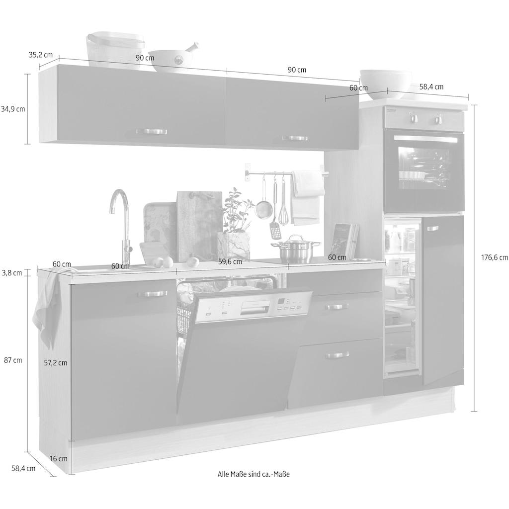OPTIFIT Küchenzeile »Cara«, ohne E-Geräte, mit Vollauszügen und Soft-Close-Funktion, Breite 240 cm
