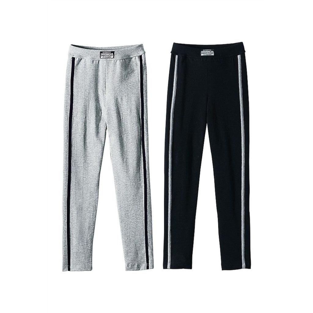 AUTHENTIC UNDERWEAR Leggings, (2er-Pack), ideal für kalte Tage, mit sportlichen Streifen seitlich