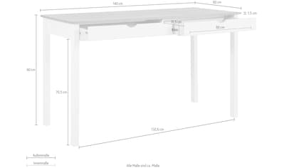 my home Schreibtisch »Gava«, aus massiven Kiefernholz, mit praktischen Griffmulden, in unterschiedlichen Farbvarianten, Breite 140 cm kaufen
