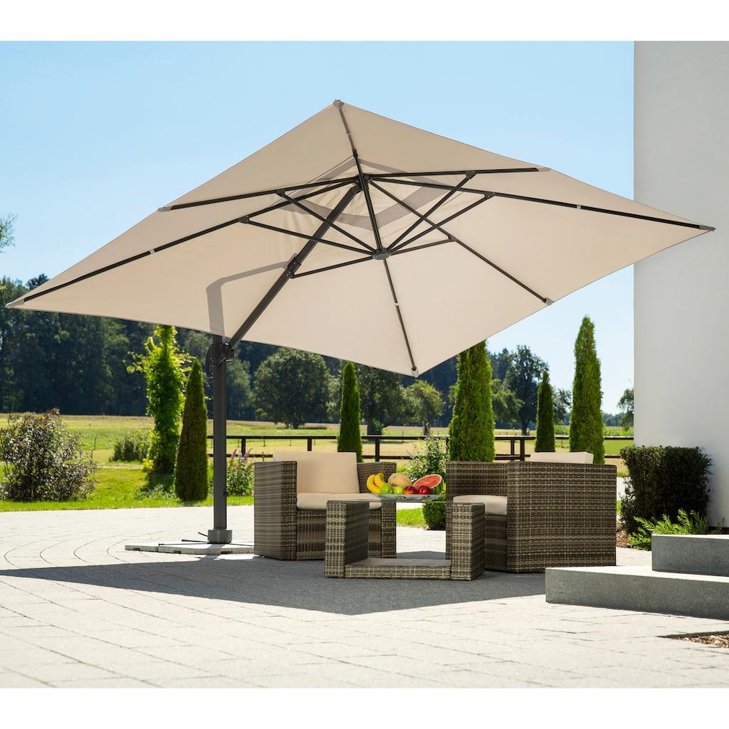 Schneider Schirme Ampelschirm »Rhodos Grande«, natur, rechteckig, ohne Wegeplatten