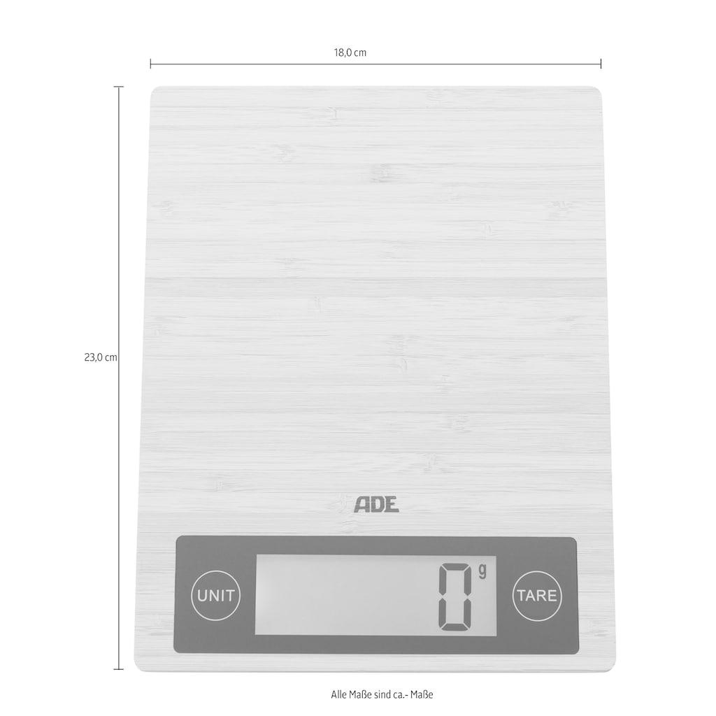 ADE Küchenwaage »KE 1128 Ramona«, mit echter Bambus-Wiegefläche, LCD-Display