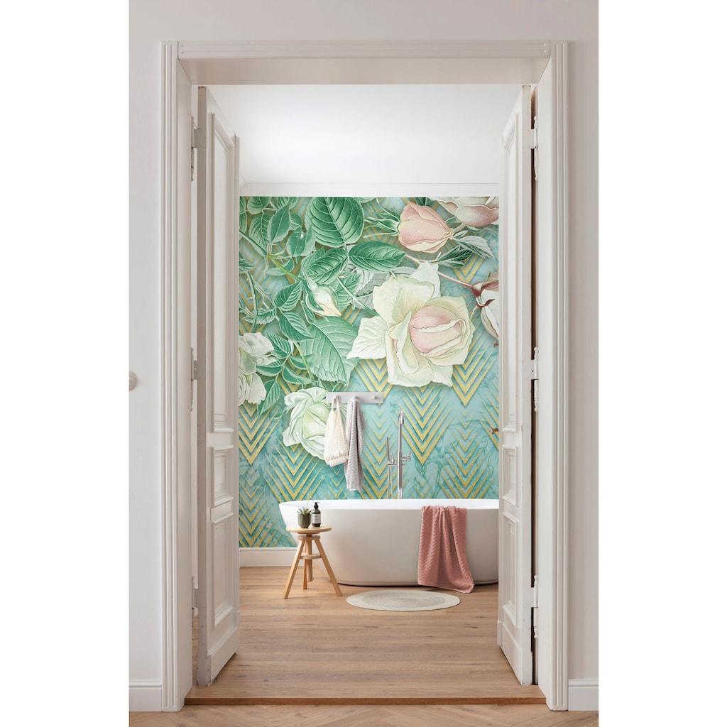 Komar Fototapete »Rose Poem«, bedruckt-floral-Gold-Optik