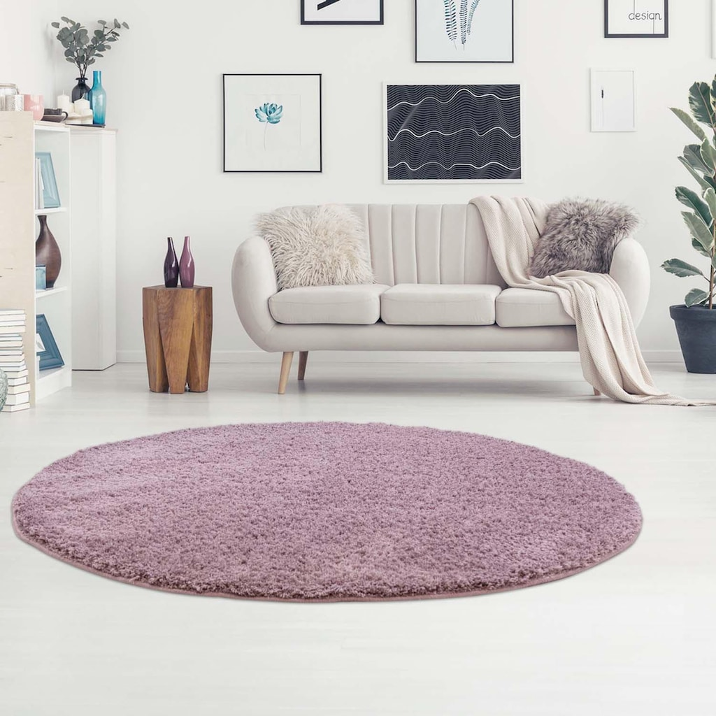Hochflor-Teppich, »Softshine 2236«, Carpet City, rund, Höhe 30 mm, maschinell gewebt