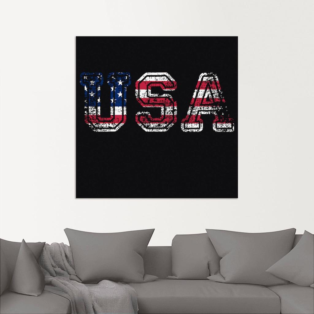 Artland Wandbild »USA Vereinigte Staaten Schriftzug«, Zeichen, (1 St.), in vielen Größen & Produktarten - Alubild / Outdoorbild für den Außenbereich, Leinwandbild, Poster, Wandaufkleber / Wandtattoo auch für Badezimmer geeignet