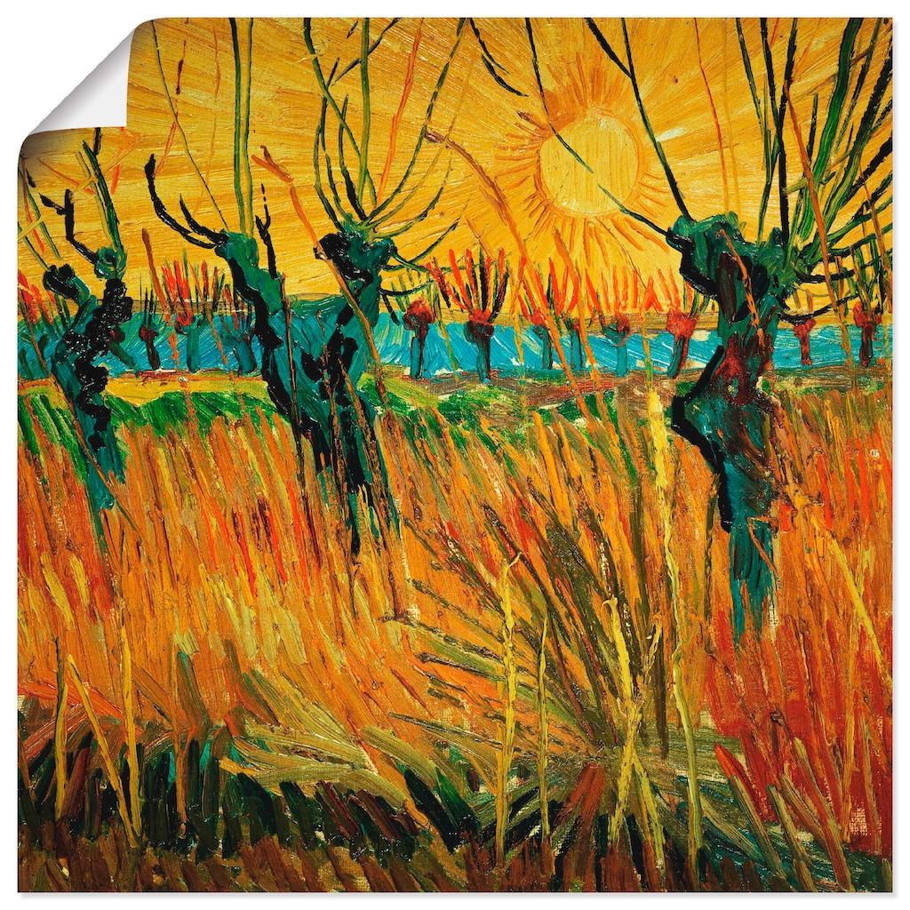 Artland Wandbild »Weiden bei Sonnenuntergang. 1888«, Wiesen & Bäume, (1 St.), in vielen Größen & Produktarten -Leinwandbild, Poster, Wandaufkleber / Wandtattoo auch für Badezimmer geeignet
