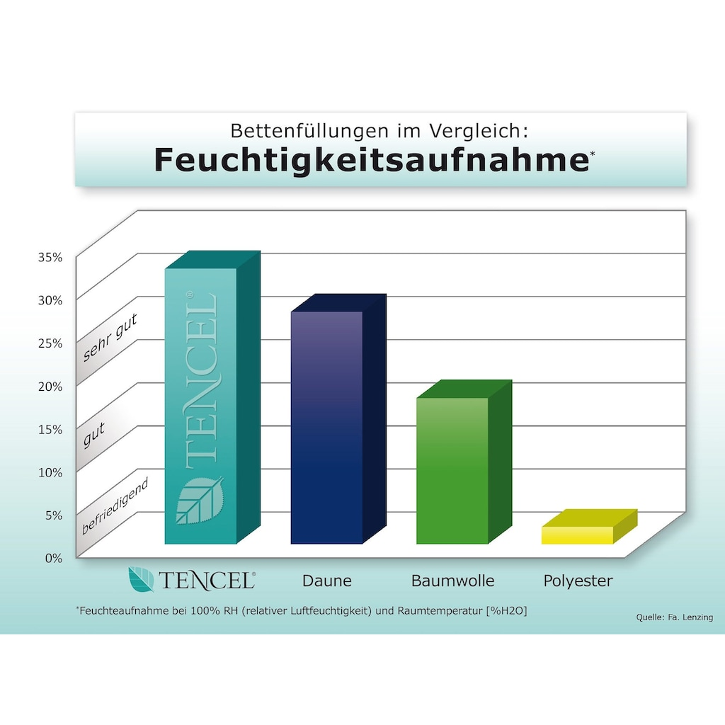 fan Schlafkomfort Exklusiv Naturfaserbettdecke »TENCEL™ Leinen«, leicht, Füllung 50% Lyocell (TENCEL™), 50% Leinen, Bezug 100% Baumwolle, (1 St.), natürlich, kühlendes Schlafklima