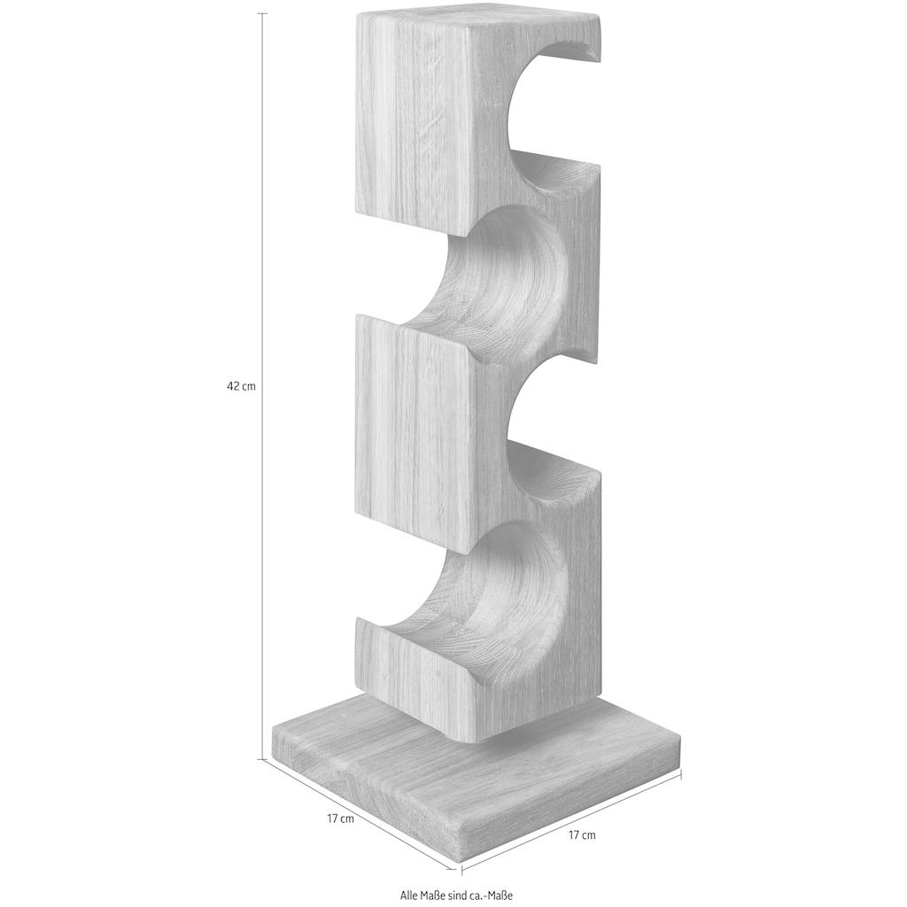andas Flaschenregal »Everett«, aus massivem geölten Eichenholz, Platz für vier Flaschen, Höhe 42 cm