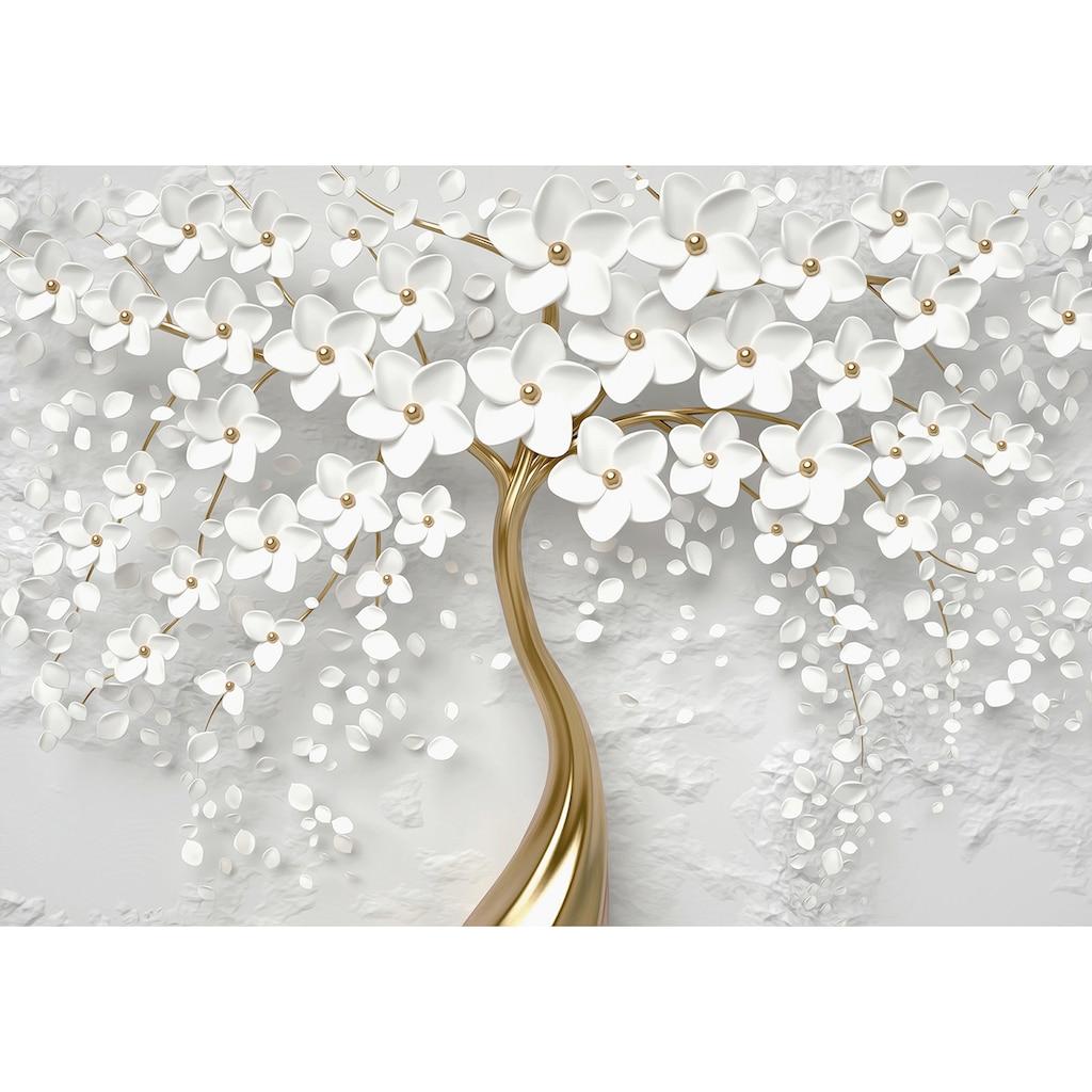 Consalnet Vliestapete »Baum mit Blütten/gold«, botanisch