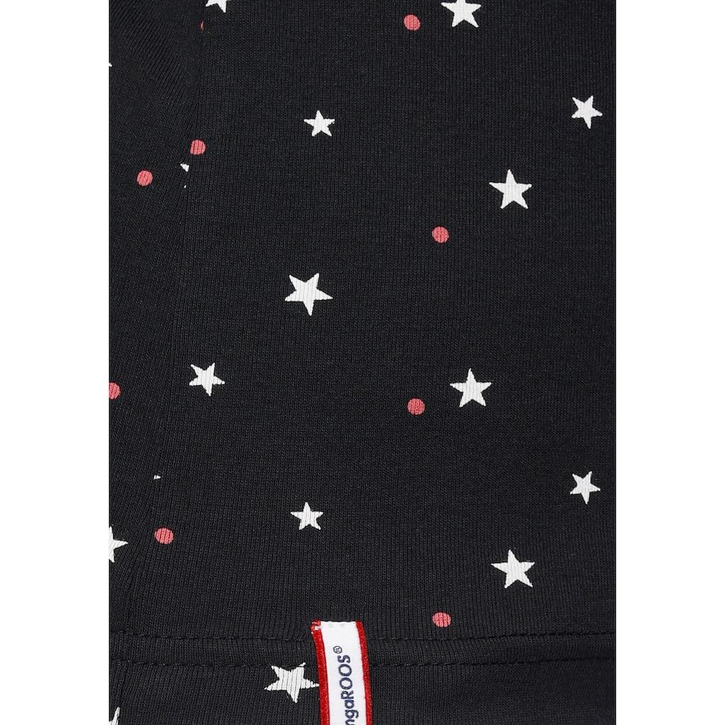 KangaROOS Langarmshirt, mit süßem Pünktchen, Vogel und Anker Allover-Print