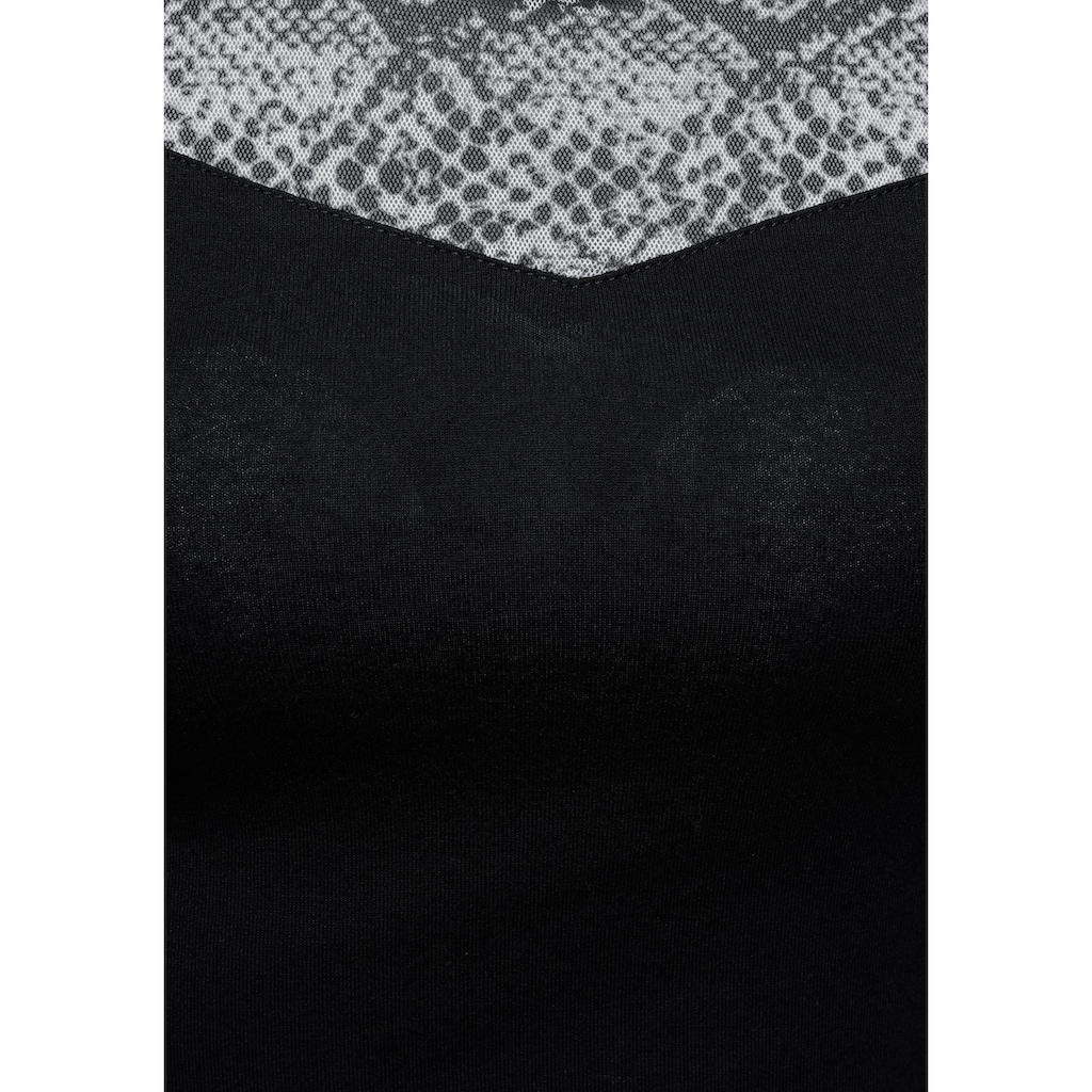 Melrose Rundhalsshirt, mit Mesh in Animal-Optik - NEUE KOLLEKTION