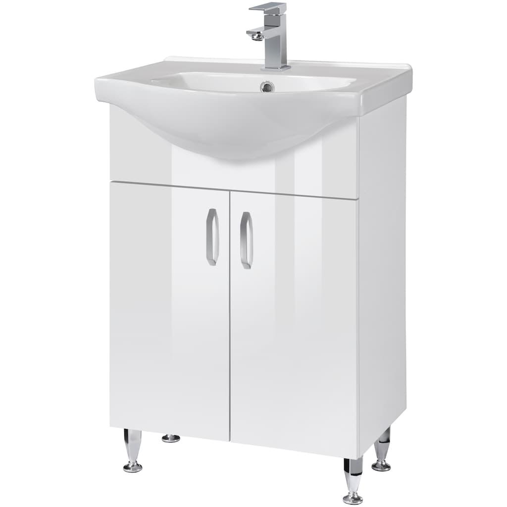 Badmöbel-Set »Duru«, (3 St.), Premium Waschtisch und Spiegelschrank, Breite 55 cm