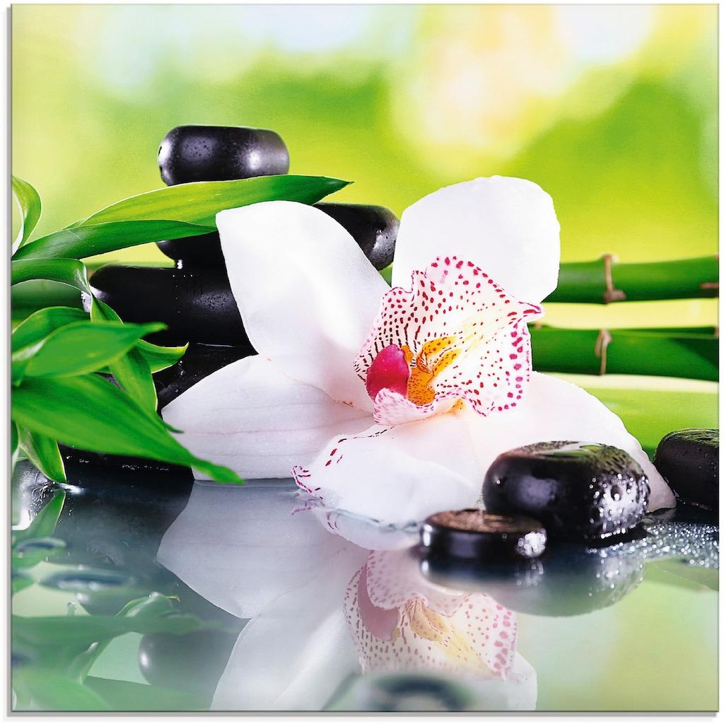 Artland Glasbild »Spa Steine Bambus Zweige Orchidee«, Zen, (1 St.)