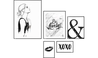 Reinders! Wandbild »Love yourself! Schwarz-Weiß - Wandbilder 5-er Set«, (Set) kaufen