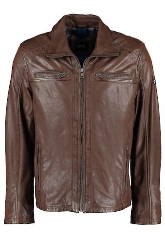 DNR Jackets Herren Lederjacke mit Taschen und Reißverschluss kaufen