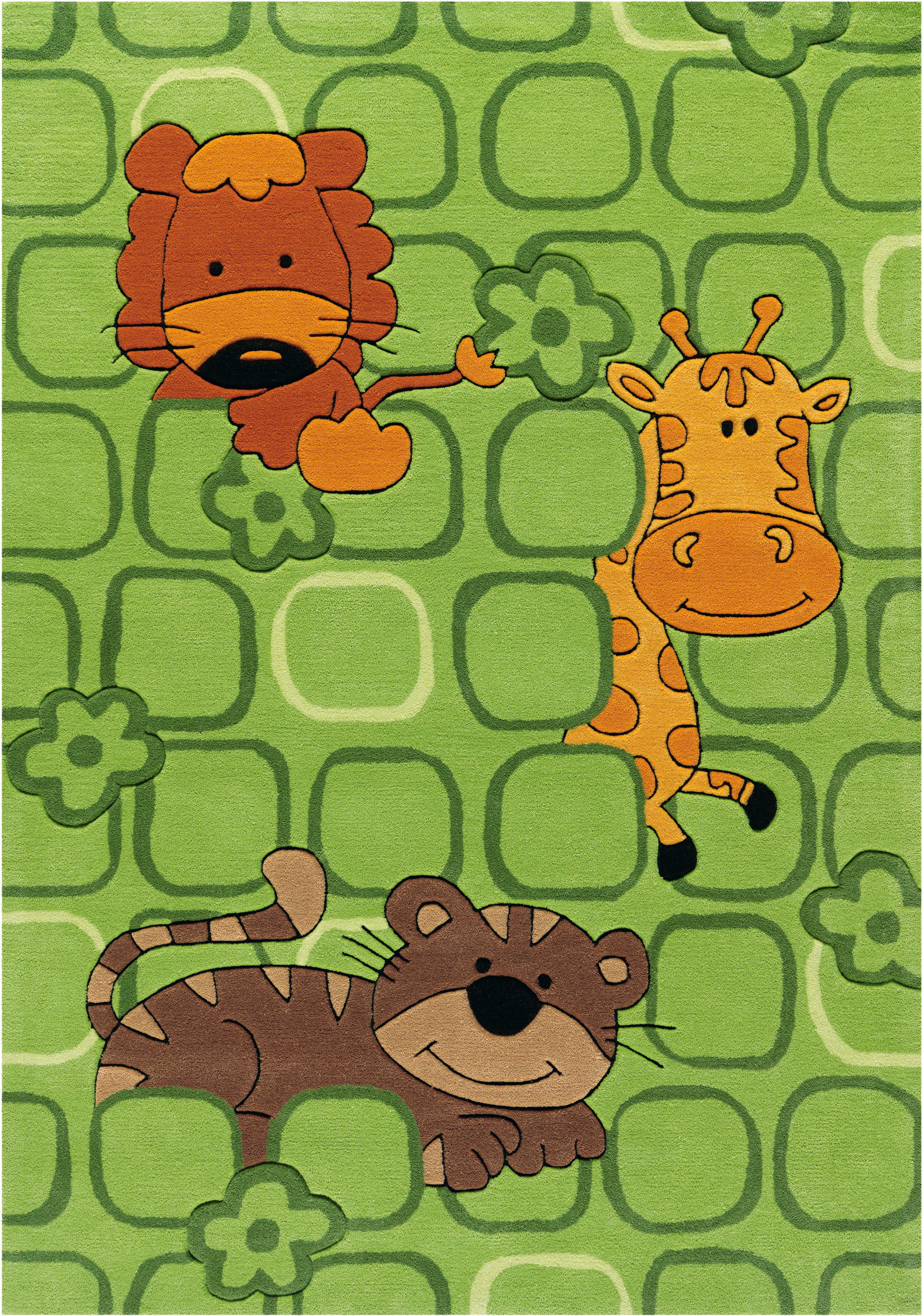 Arte Espina Kinderteppich Sam 4153, rechteckig, 11 mm Höhe, Motiv Dschungel Tiere grün Kinder Bunte Kinderteppiche Teppiche