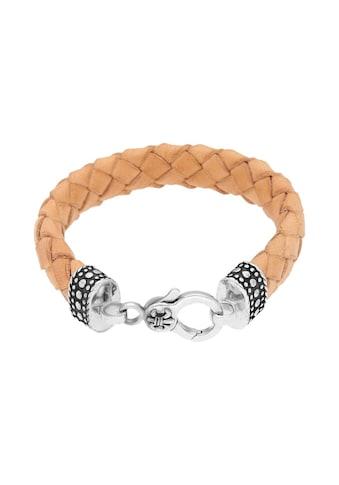 GIORGIO MARTELLO MILANO Armband »mit Ornament, teilweise oxydiert, Leder naturfarben, Silber 925« kaufen