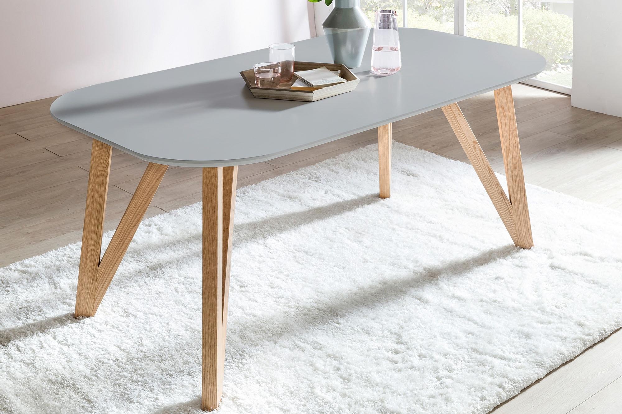 SalesFever Esstisch, Haarnadelbeine aus massiver Eiche grau Esstisch Esstische rund oval Tische
