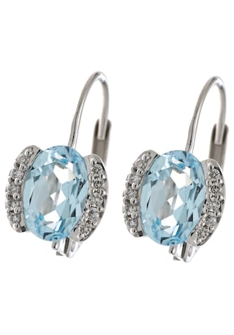 JOBO Paar Ohrhänger, 585 Weißgold mit 20 Diamanten und Blautopas kaufen