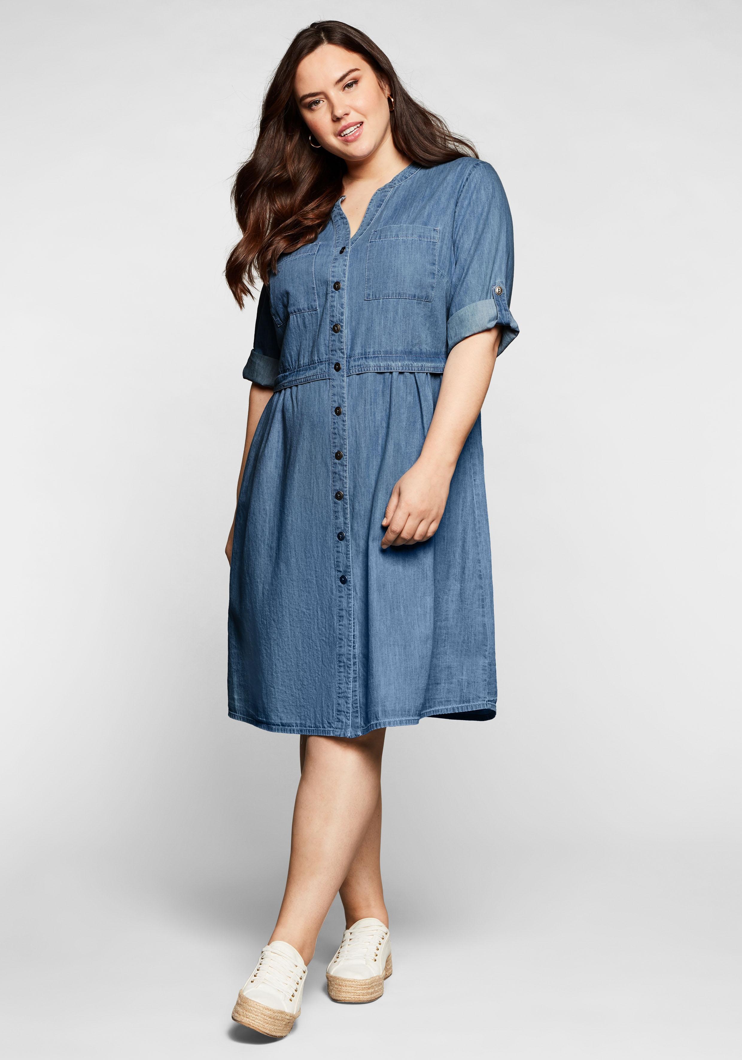 sheego -  Jeanskleid, mit Knopfleiste und hoher Taille