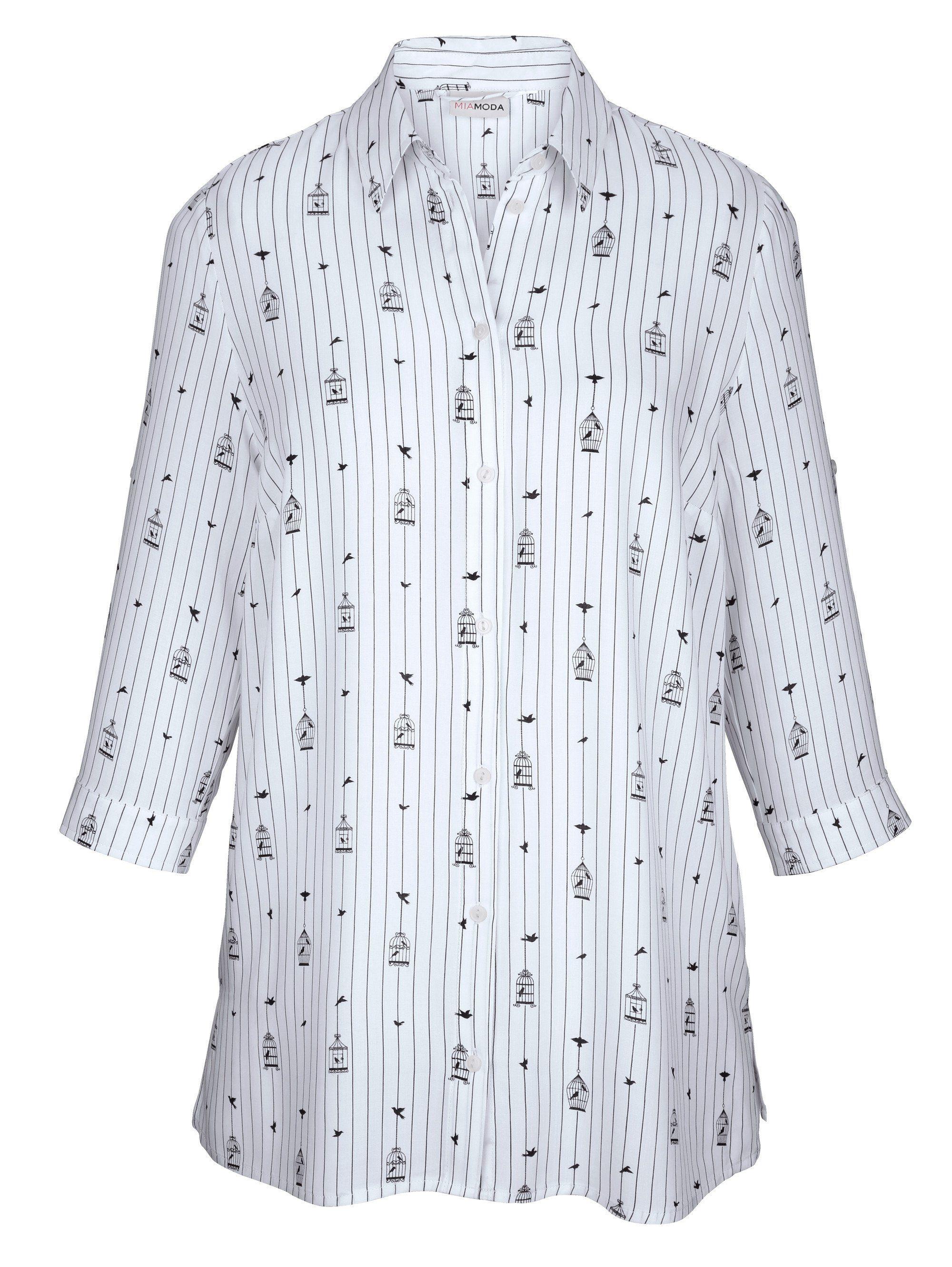 MIAMODA Bluse mit Streifen- und Vogelkäfigdruck-Muster