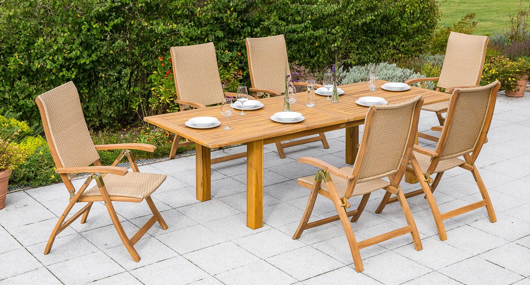 MERXX Gartenmöbelset Capri 7-tlg 6 Klappsessel Tisch 180-220-260x100 cm Akazienholz