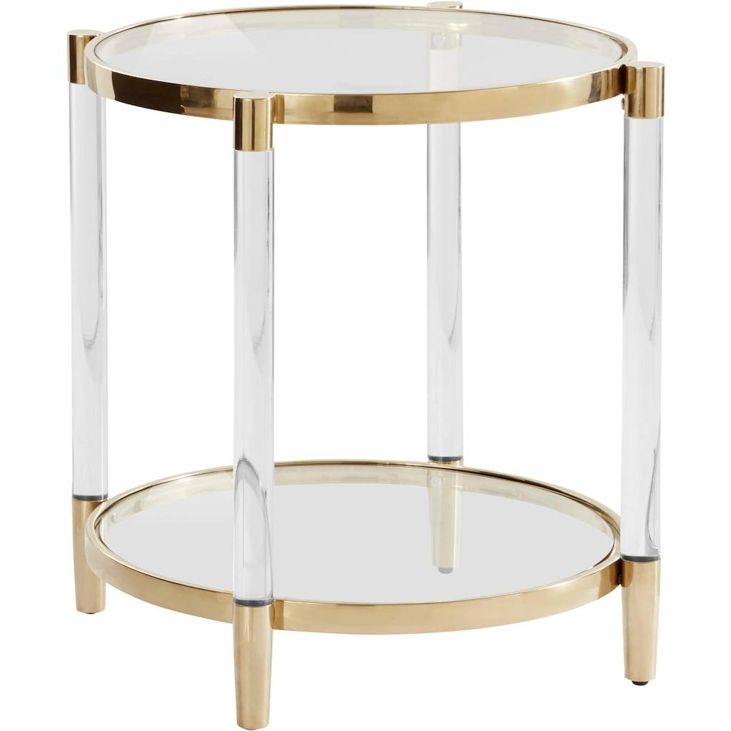 Leonique Beistelltisch »Ceadda«, mit Metallbeinen und einer Glastischplatte, in 2 Farben, Breite 61 cm
