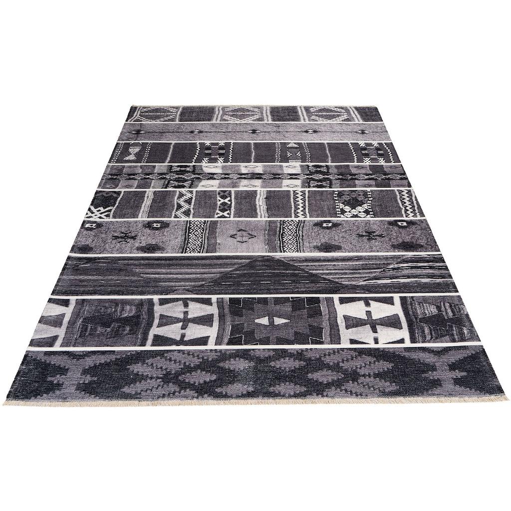 Obsession Teppich »My Ethno 260«, rechteckig, 6 mm Höhe, recycelte Materialien, mit Fransen, waschbar, In- und Outdoor geeignet, Wohnzimmer