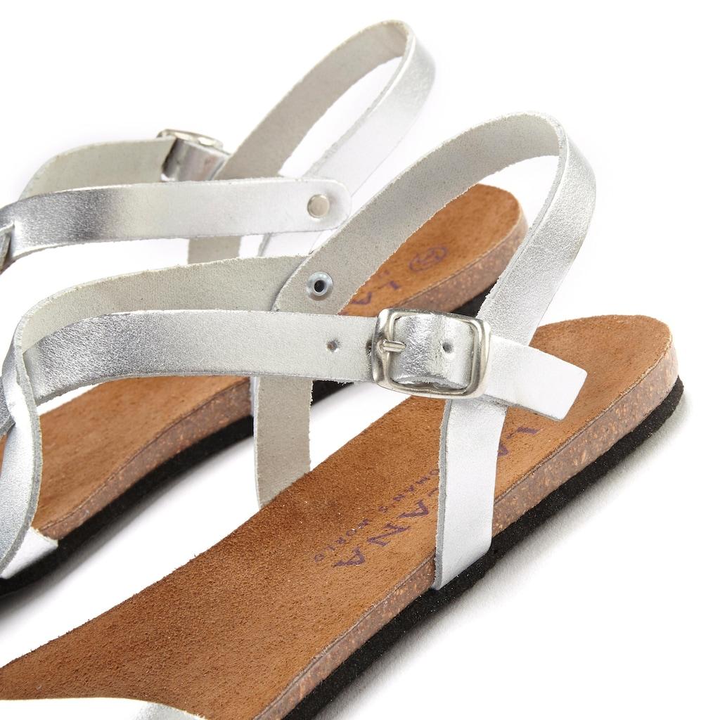 LASCANA Sandale, in Metallic-Optik aus Leder