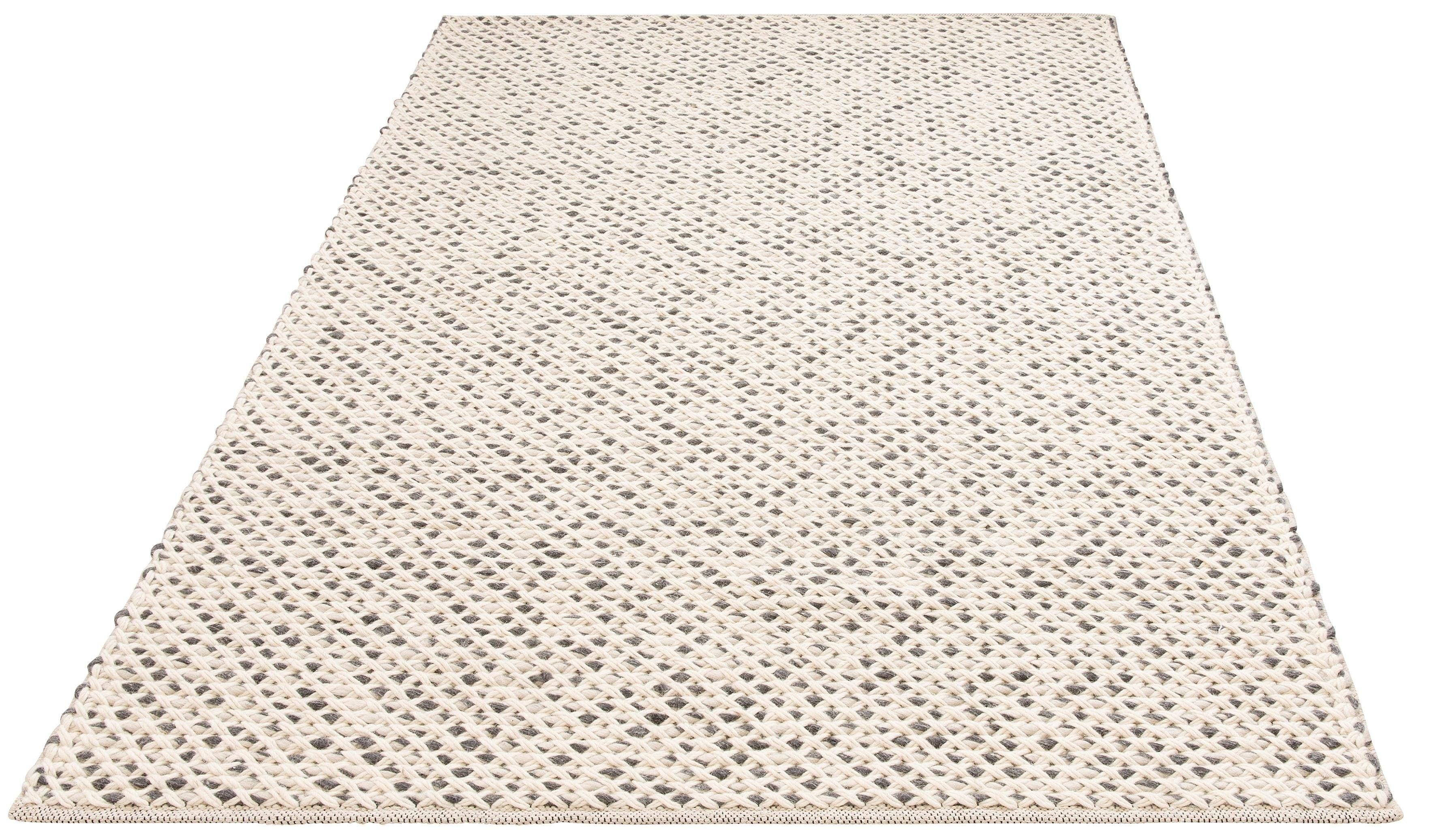 my home Teppich Zarina, rechteckig, 6 mm Höhe, Strickoptik, Wohnzimmer beige Esszimmerteppiche Teppiche nach Räumen