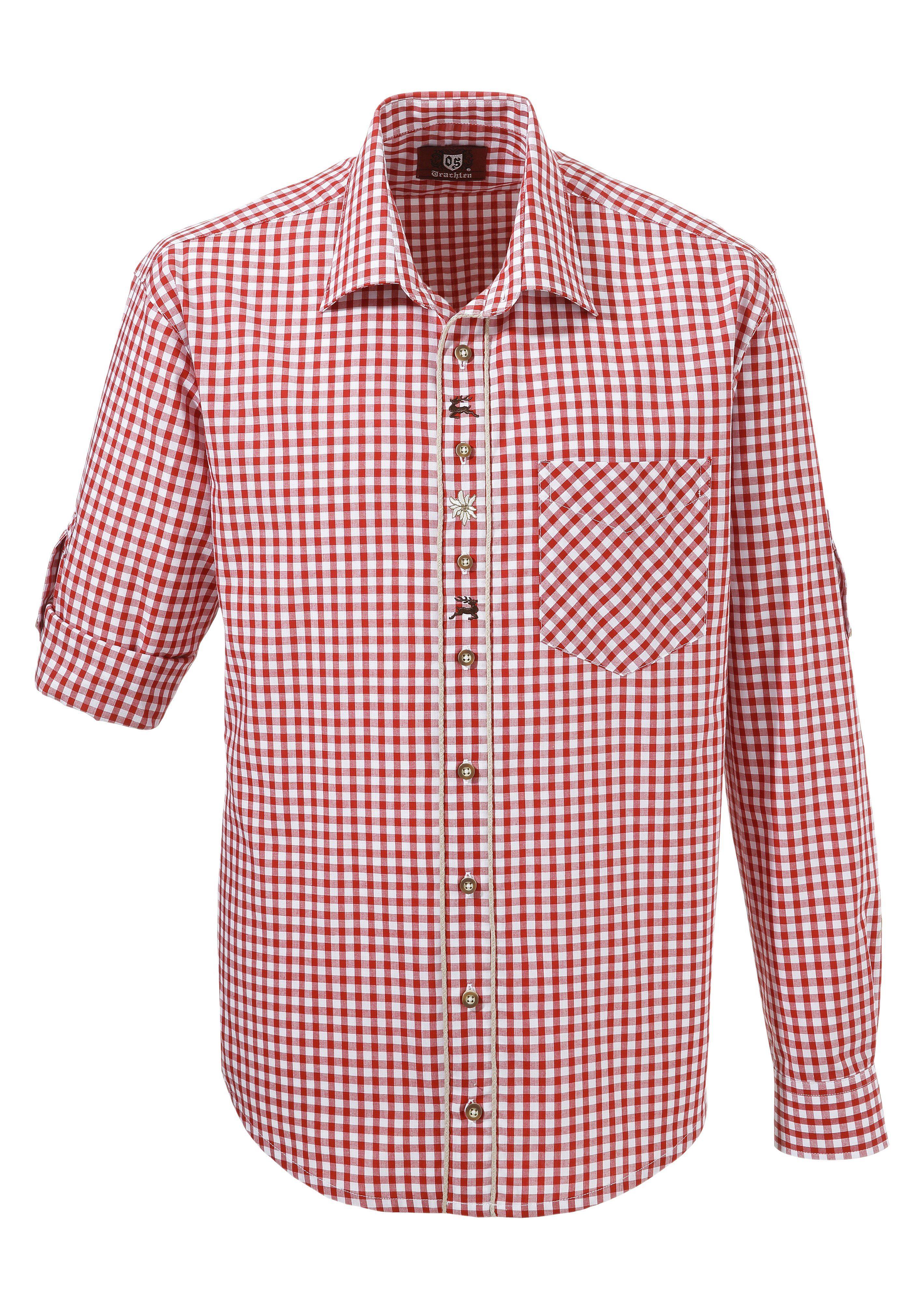 OS-Trachten Trachtenhemd mit Krempelärmel   Bekleidung > Hemden > Trachtenhemden   Rot   Os-Trachten