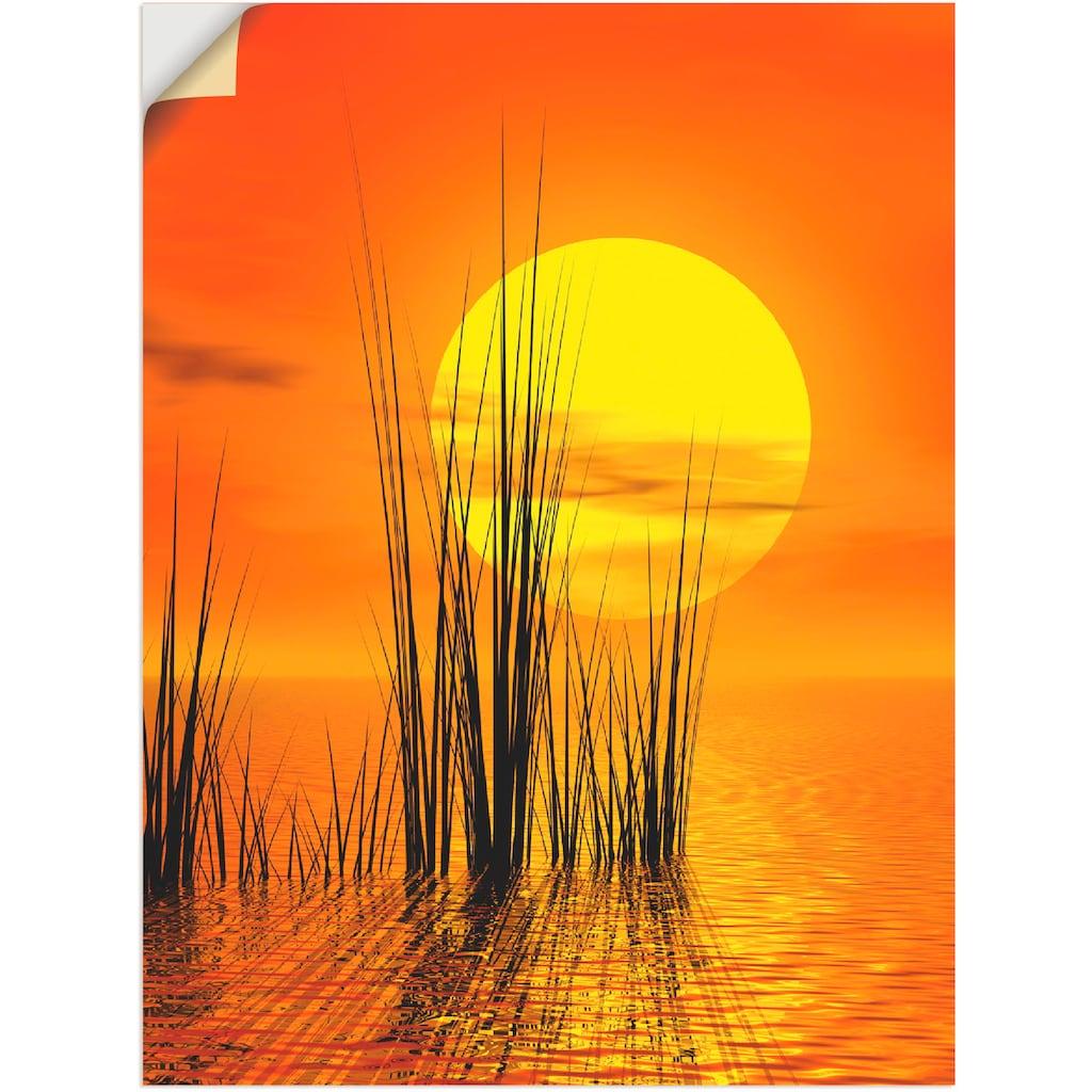 Artland Wandbild »Sonnenuntergang mit Schilf«, Sonnenaufgang & -untergang, (1 St.), in vielen Größen & Produktarten -Leinwandbild, Poster, Wandaufkleber / Wandtattoo auch für Badezimmer geeignet