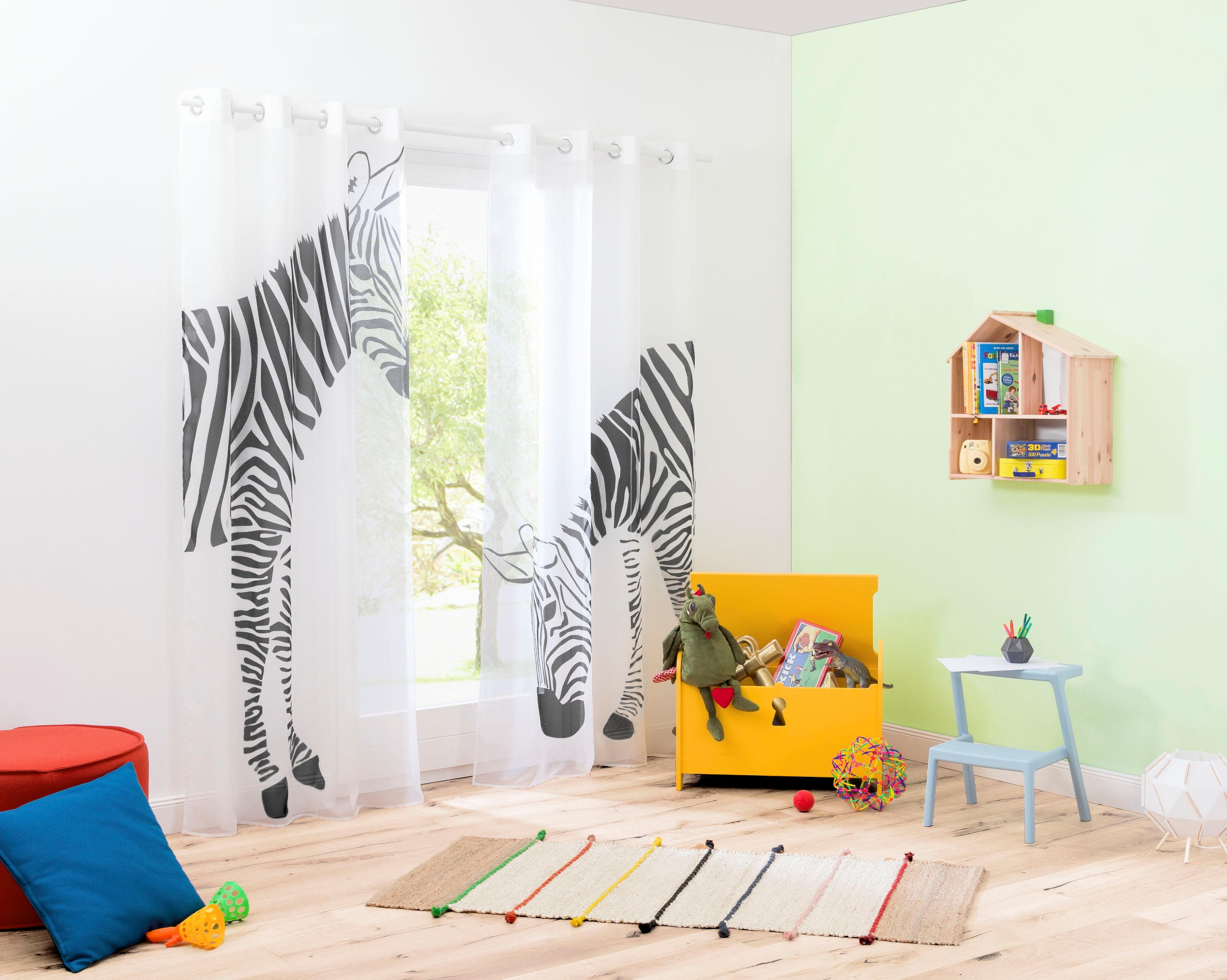 my home Gardine Zebra weiß Wohnzimmergardinen Gardinen nach Räumen Vorhänge