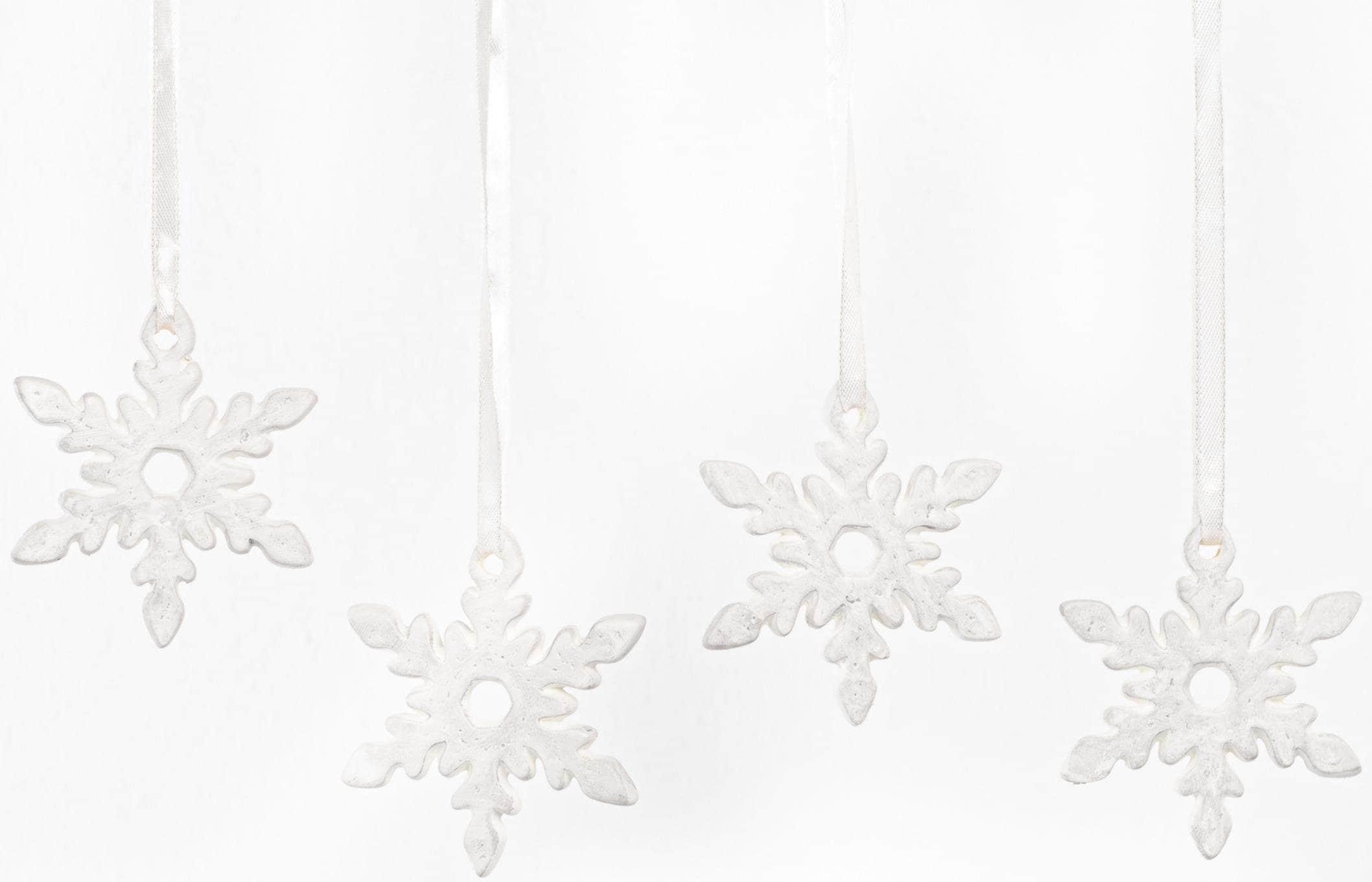 Fabriano Dekohänger Eiskristall Nerea (Set, 4 Stück) weiß Wanddekoration Deko Wohnaccessoires