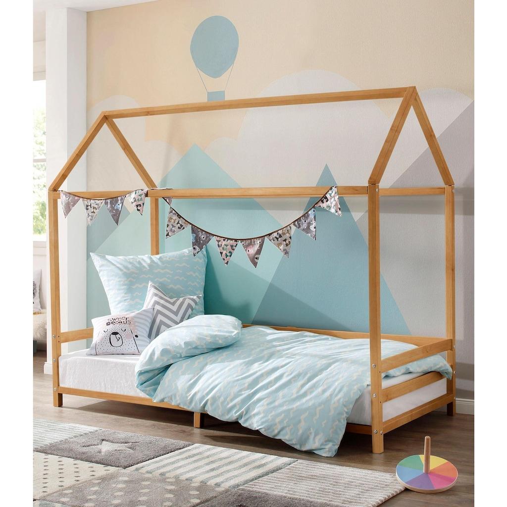 Lüttenhütt Hausbett »Ellen«, mit Reling aus massivem Kiefernholz, in zwei verschiedenen Farbvarianten erhältlich, Breite 208 cm