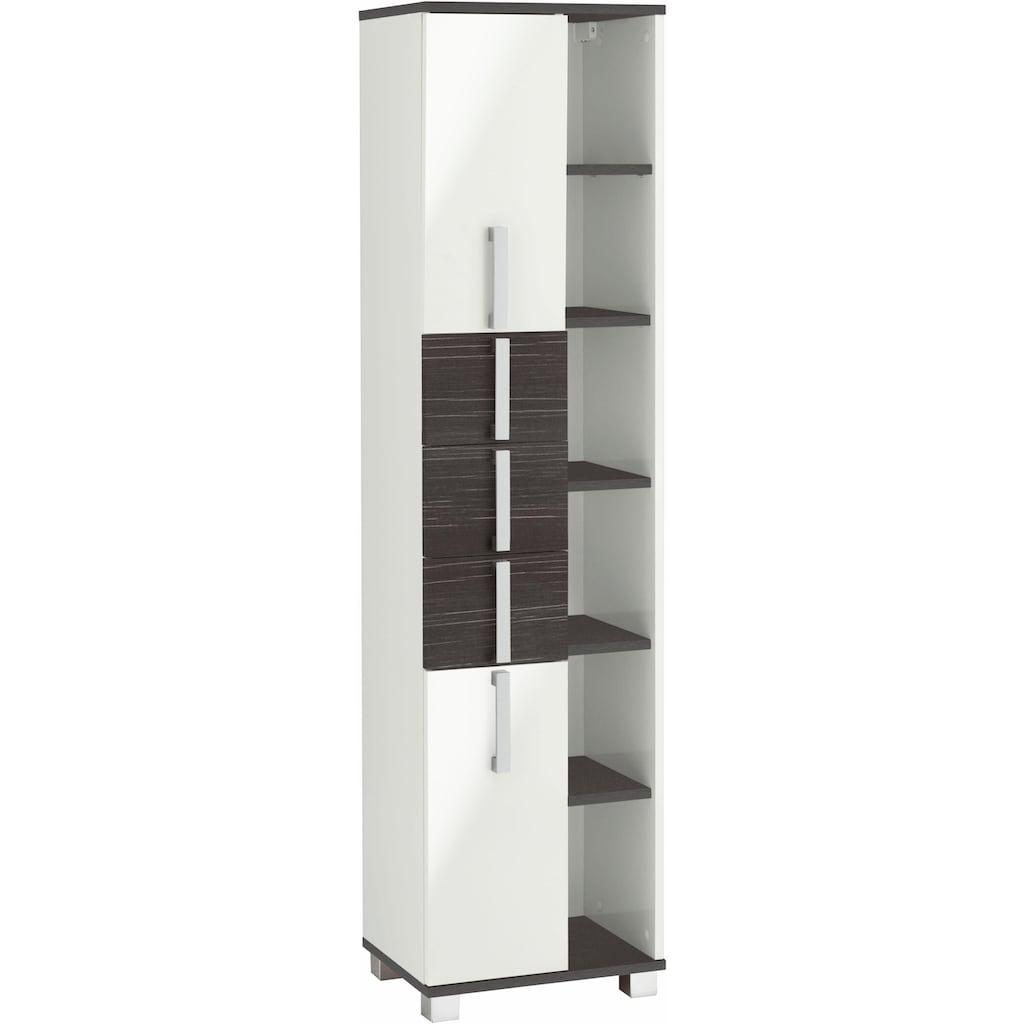 Schildmeyer Hochschrank »Kampen«, Höhe 163,7 cm, Badezimmerschrank mit Metallgriffen, viel Stauraum durch offene Regalfächer, Türen mit Soft-Close-Funktion, 3 praktische Schubladen