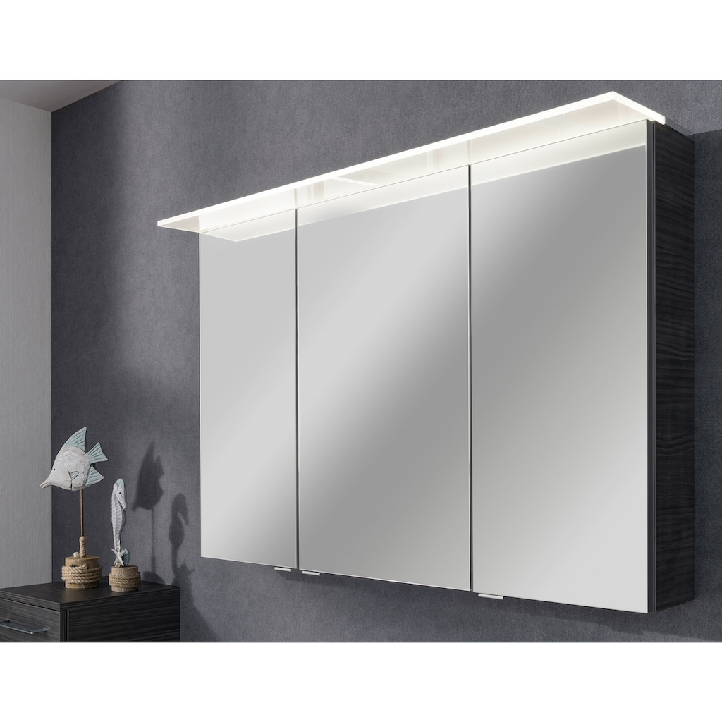 FACKELMANN Spiegelschrank »PE 100 - Dark-Oak«, Breite 100 cm, 3 Türen, Badspiegel mit beleuchtetem Unterboden