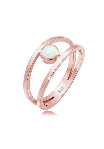 Elli Fingerring »Bandring Zweireihig Synthetischer Opal 925 Silber« kaufen