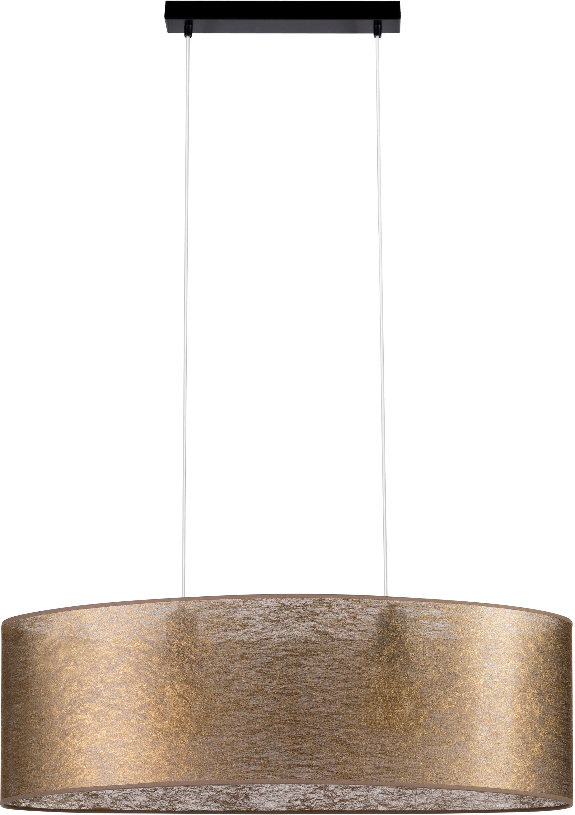 Leonique Pendelleuchte DOROTHE, E27, Hochwertiger Schirm aus Stoff in Goldfarben, Magnetbefestigung, passende LM E27/exklusive, Made in Europe