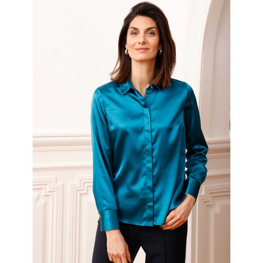 Mona Hemdbluse, aus elastischem Satin